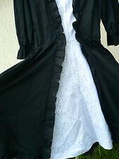 FESTIVAL COSTUME THE SQUARE DANCE DRESS CO SZ S M BLACK WHITE RUFFLED LACE FULL