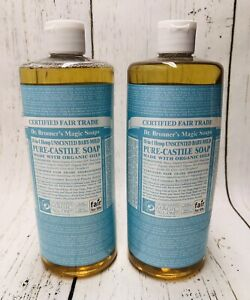 (2) Dr Bronner's Magic Soaps Unscented Baby-Mild Pure-Castile Soap Organic READ