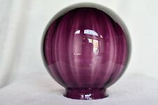 Victorian GWTW Parlor Oil Lamp Purple Optic Ribbed Blown Glass Shade Globe