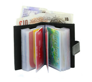 Mens Women Soft Slim Leather Credit Card Holder Wallet with Banknote Compartment