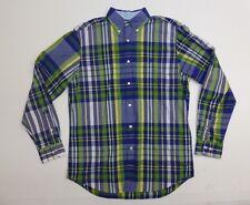 Nautica Mens Size M Blue & Green Plaid Button Front Shirt Excellent Condition