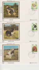 BENHAM SILK NEW ZEALAND FIRST DAY COVER SET FDI 1982 HEALTH ISSUE - DOGS