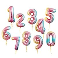 "32"" Rainbow Giant Balloons Number Gradient Digital Happy Birthday Party Decor"