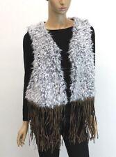 Faux Fur Vest with Fringe Faux Lamb Fur Party Fall Winter Womens