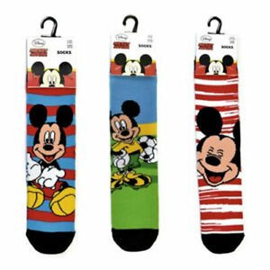 Boys Mickey Mouse Socks 3 Pairs Sizes 6-3.5 UK 23-36 EUR NEW FREE UK P&P