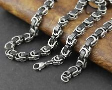 Silver Titanium Stainless Steel Men Byzantine Box Link Necklace Mens Chain Gift
