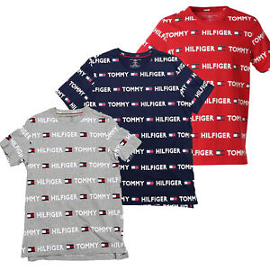 Mens Tommy Hilfiger Logo Print T-Shirt Red Navy Blue Grey Lounge Tee NEW