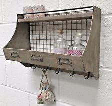 Industrial Style Metal Wall Shelf With Storage Hooks Vintage Rustic Unit Cabinet