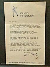 Elvis Presley- Vintage / Original Fan Club Membership Welcome Letter - 1958