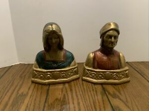 Antique Bronze Bookends Dante & Beatrice made by the Pompeian Bronze