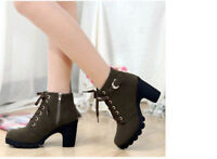 US Womens High Heel Lace Up Ankle Boots Ladies Zipper Buckle Platform Shoes Size