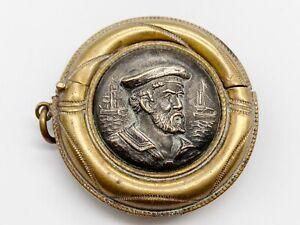 ANTIQUE WW1 NAVY NAVAL HERO CAP TALLY MILITARY MATCH SAFE VESTA CASE SAILOR