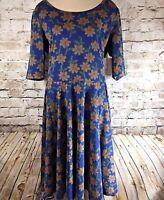 Lularoe LLR Nicole Dress Size XL Blue Yellow Orange Floral Flowers NWT