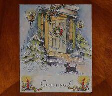 Vintage Christmas Card SILVERED OPEN FRONT DOOR SCOTTIE DOG SCOTTISH TERRIER