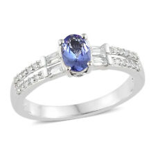 Tanzanite, White Topaz, Platinum over Sterling Silver ring size 5