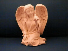 "Ivory Stone Kneeling Cherub with Dove - 7 1/2"" high"