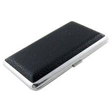SODIAL(R) Metal Frame Black Faux Leather Cigarette Storage Case Box LW