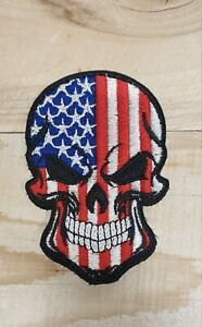 AMERICAN USA FLAG SKULL EMBROIDERED PATCH (Hook and Loop)