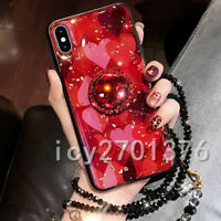 Bling Marble ring holder KickStand Soft Phone back Cover Case For iPhone Samsung