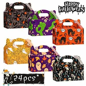 XIMISHOP 24pcs Halloween Treat Boxes Halloween Candy Sweet Goody Boxes Paper ...