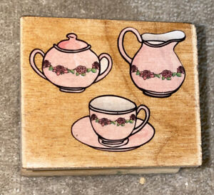 Rubber Stamp - Coffee/Tea Pitcher, Cup & Sugar Bowl