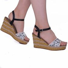 ed6676a96ab2 Ladies Women s Floral Wedge Platforms High Heels Ankle Strap Shoes Size UK 3 -8