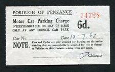 Dated 1962. Motor Car Parking Charge Receipt - Borough of Penzance