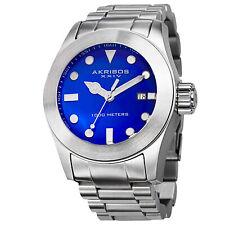 Homme Akribos XXIV AK730BU Cadran Bleu Affichage Date Acier Montre Bracelet