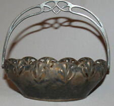 ANTIQUE ART DECO FLORAL SILVERPLATED / BRASS BASKET