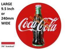VINTAGE COKE COCA COLA  DECAL STICKER LABEL 9 INCH DIA 230 MM HOT ROD ESKY xx