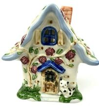 Country Style Cottage Ceramic House Tea Light Candle Voltive Holder Cat