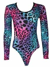 LADIES WOMENS  NEON COLOURS LEOPARD PRINT LEOTARD BODYSUIT TOP THEME 8-14