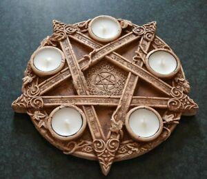 Pentacle altar tile Candle holder Pentacle altar Witchcraft altar Altar table