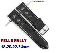 🔱CINTURINO PELLE RALLY 18mm 20mm 22mm 24mm NERO CUCITURA BIANCA BUCHI RACING 🔱