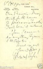 EDWARD ELGAR Signed Letter - Musician / English Composer - preprint