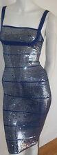 authentic Herve Leger ultramarine blue sequin Katherine cocktail dress new XXS
