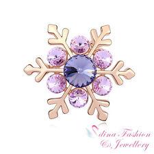 18K Rose Gold Plated Made With Genuine Swarovski Crystal Purple Snowflake Brooch