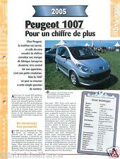 Peugeot 1007 Pininfarina  4 Cyl. 2005 France Car Auto Voiture FICHE FRANCE