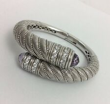 JUDITH RIPKA STERLING SILVER AMETHYST DIAMONIQUE BYPASS BANGLE CUFF BRACELET