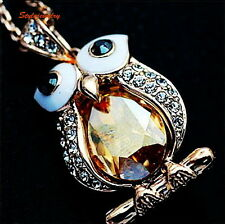 Rose Gold Tone Citrine Yellow Topaz Owl Necklace Made With Swarovski Crystal N9