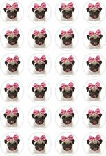 24 Pug Dog Face Cupcake Fairy Cake Toppers Edible Rice Wafer Paper Decorations