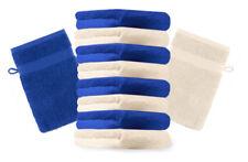 10er Pack Waschhandschuhe Premium Farbe: Royalblau & Beige, Größe: 17x21 cm