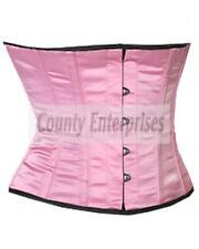 Shaper Cincher Taillen Vestaglia COMPLETO acciaio ossa SPIRALE waistbust rosa corsetto in Satin
