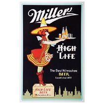 Miller High Life Milwaukee Beer Server Tin Metal Sign Bar Man Cave Home Garage