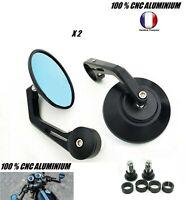 Kit 2x Rétroviseurs ROND Moto Handle Bar Embout guidon 22 mm custom