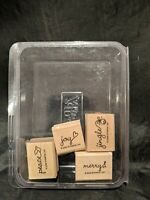 STAMPIN UP PERFECT ENDING MERRY JOY JINGLE SET 4 WOOD RUBBER STAMPS