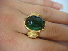 20 CARAT  GENUINE GREEN TOURMALINE CABOCHON SHAPED UNISEX RING 14 K. SOLID GOLD