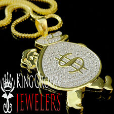 14K Yellow Gold On Real Silver Lab Diamonds Pendant Man Holding Money Bag +Chain