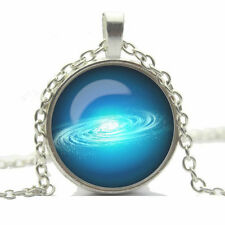 Vintage Style Glass Pendant Blue Ocean Water Wave Movement Necklace N451