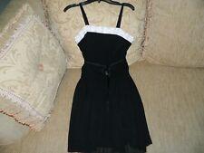 Girl's Black Dress w/White Trim & Beads Size 16 by Amy Byer